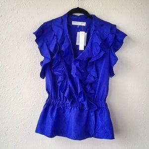 Trina Turk Royal Blue 100% Silk Ruffle Blouse